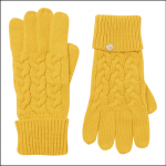Joules Elena Cable Knit Gloves Antique Gold 1