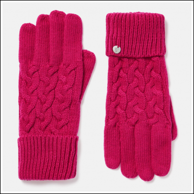 Joules Elena Cable Knit Gloves Ruby Pink 1