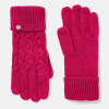 Joules Elena Cable Knit Gloves Ruby Pink 2