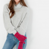 Joules Elena Cable Knit Gloves Ruby Pink 3