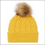 Joules Elena Cable Knit Hat Antique Gold