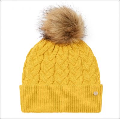 Joules Elena Cable Knit Hat Antique Gold 1