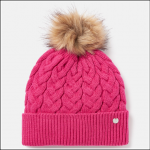 Joules Elena Cable Knit Hat Ruby Pink 1