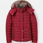Joules Gosway Fur Trim Padded Coat Red Shoe 1