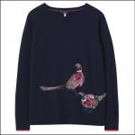 Joules Miranda Luxe Knitted Crew Neck Jumper Navy Bird 1