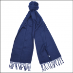 Barbour Plain Lambswool Scarf Navy Blue 1