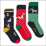 Joules Christmas Bamboo Socks 3 Pack Xmas Dogs