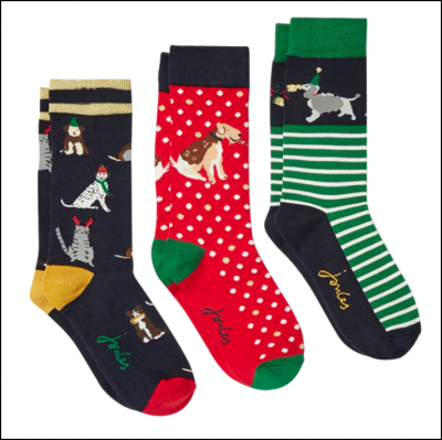 Joules Christmas Bamboo Socks 3 Pack Xmas Dogs 1