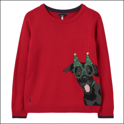 Joules Women's Cracking Red Intarsia Jumper Festive Dog 1
