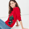 Joules Women's Cracking Red Intarsia Jumper Festive Dog 3
