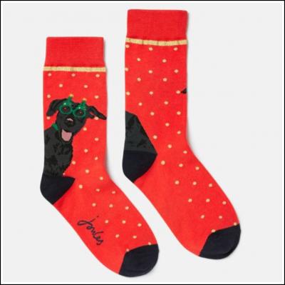 Joules Festive Red Single Socks Christmas Dog