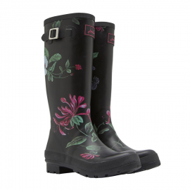 Joules Black Hedgerow Tall Wellington Boots