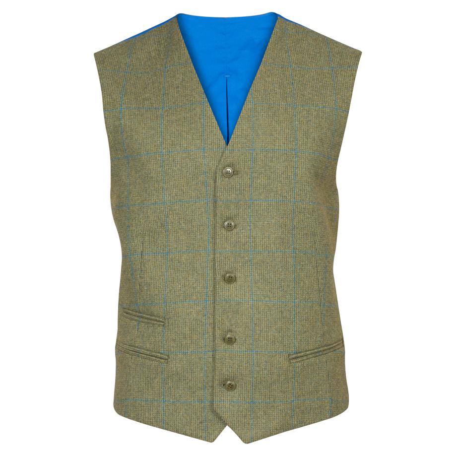 a263cb42638b9 Alan Paine Combrook Mens Lagoon Tweed Lined Back Waistcoat 1