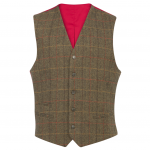 Alan Paine Combrook Mens Peat Tweed Lined Back Waistcoat 1