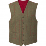 Alan Paine Combrook Mens Sage Tweed Lined Back Waistcoat 1