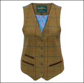 Alan Paine Combrook Ladies Gorse Tweed Lined Back Waistcoat 1