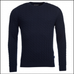 Barbour Fowey Navy Cable Crew Neck Sweater