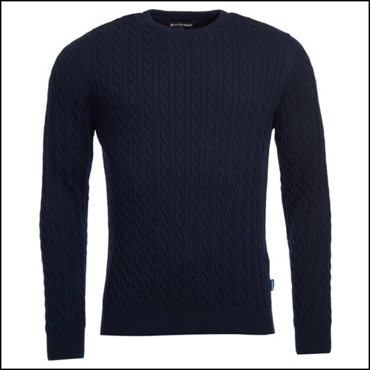 Barbour Fowey Navy Cable Crew Neck Sweater 1