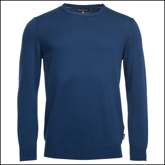 Barbour Garment Dyed Inky Blue Crew Neck Sweater 1