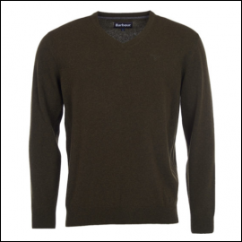 Barbour Nelson Essential V Neck Sweater Seaweed 1