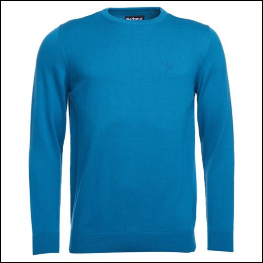Barbour Pima Blue Steel Crew Neck Sweater 1