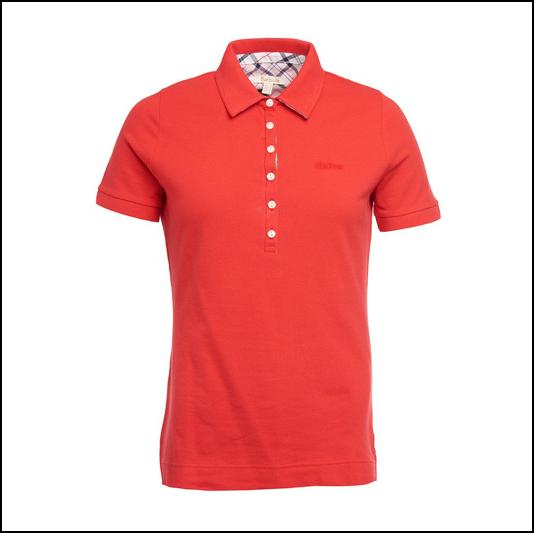 Barbour Prudhoe Ladies Tartan Red Polo Shirt 1