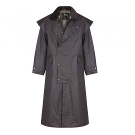 Barbour Stockman Long Brown Wax Coat