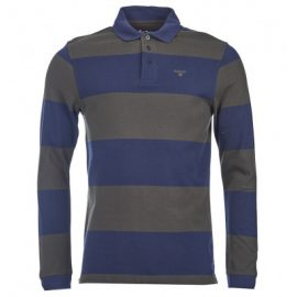 Barbour Striped Navy Long Sleeve Polo