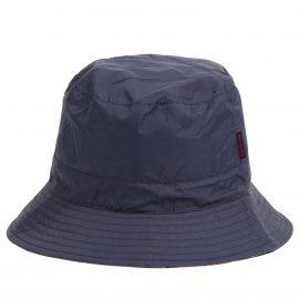 Barbour Waterproof Reversible Navy-Tartan Hat 1