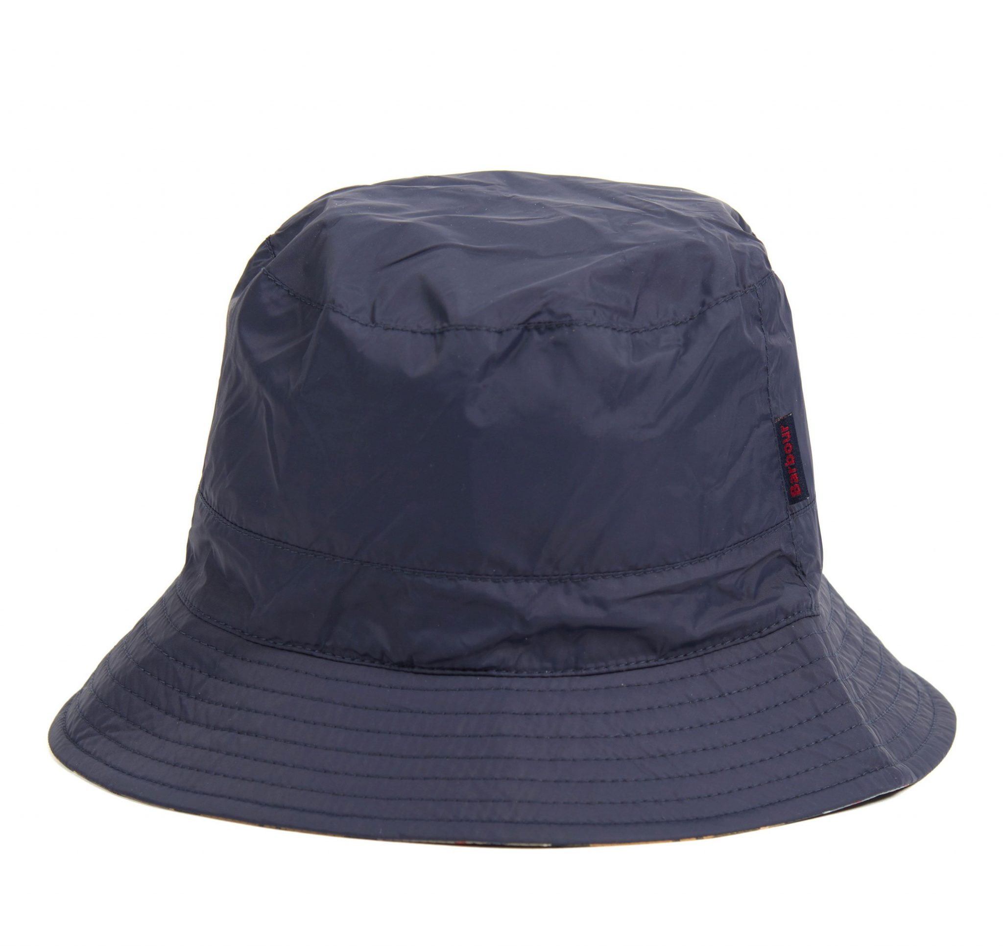 Barbour Waterproof Reversible Navy-Tartan Hat 1