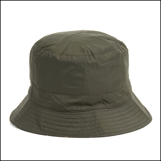 Barbour Waterproof Reversible Olive-Classic Tartan Hat 1