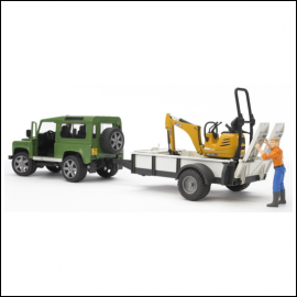 Bruder Land Rover Defender with Trailer & JCB Micro Excavator 1:16 Scale