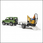 Bruder Land Rover Defender with Trailer & JCB Micro Excavator 1:16 Scale 2