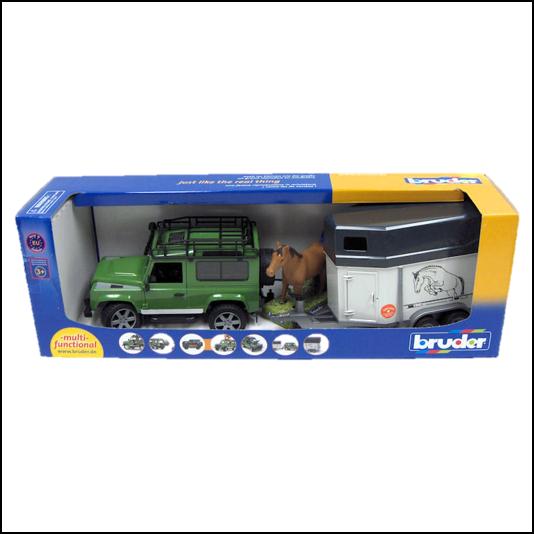 Bruder Land Rover Defender with Horse Trailer 1:16 Scale 1