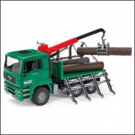 Bruder MAN Timber Truck with Loading Crane & Trunks 1