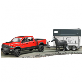 Bruder Ram 2500 Power Wagon with Horse Trailer & Horse 1.16 Scale 1Bruder Ram 2500 Power Wagon with Horse Trailer & Horse 1.16 Scale 1