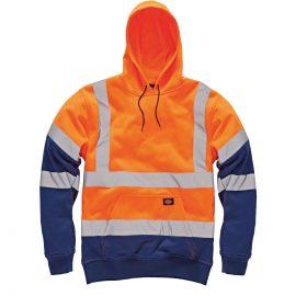 Dickies High Visibility Orange Two Tone Hooded Sweatshirt 1