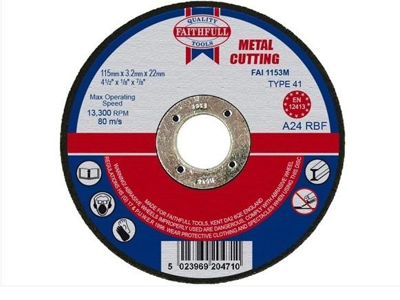 Faithfull Metal Cutting Disc 115 x 3.2 x 22mm