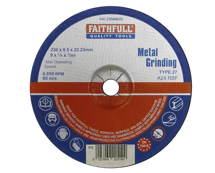 Faithfull Metal Grinding Disc 230 x 6.5 x 22.23mm
