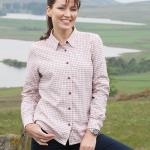 Hoggs of Fife Alba Cream-Berry Jersey Lined Shirt 1