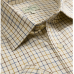 Hoggs of Fife Pure Cotton Dark Brown-Gold-Navy Tattersall Check Shirt 1
