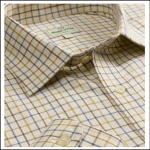 Hoggs of Fife Pure Cotton Dark Brown-Gold-Navy Tattersall Check Shirt