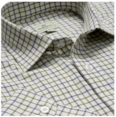 Hoggs of Fife Pure Cotton Navy-Olive Tattersall Check Shirt 1
