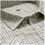 Hoggs of Fife Pure Cotton Tan-Navy-Green Tattersall Check Shirt 1
