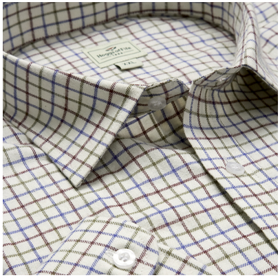Hoggs of Fife Pure Cotton Wine-Blue-Green Tattersall Check Shirt 1