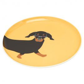 Joules Barking Yellow Dachshund Side Plates