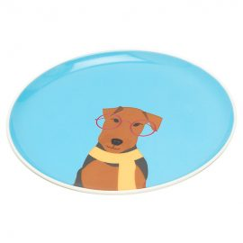 Joules Barking Blue Airedale Side Plate