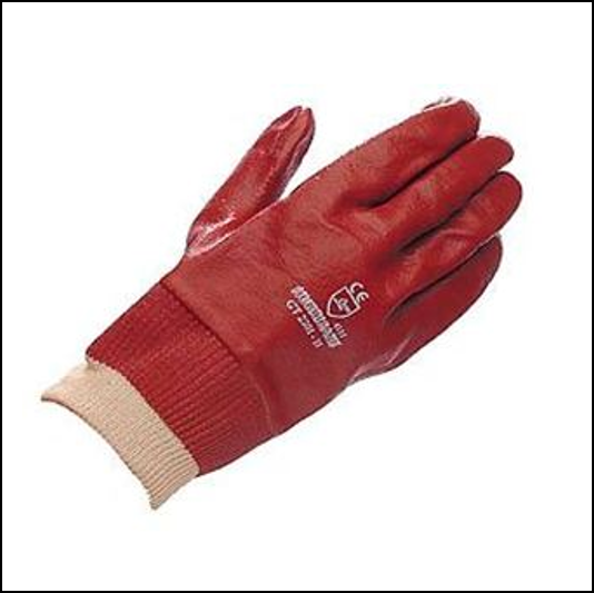 Hurricane Red PVC Coated Knitwrist Gloves