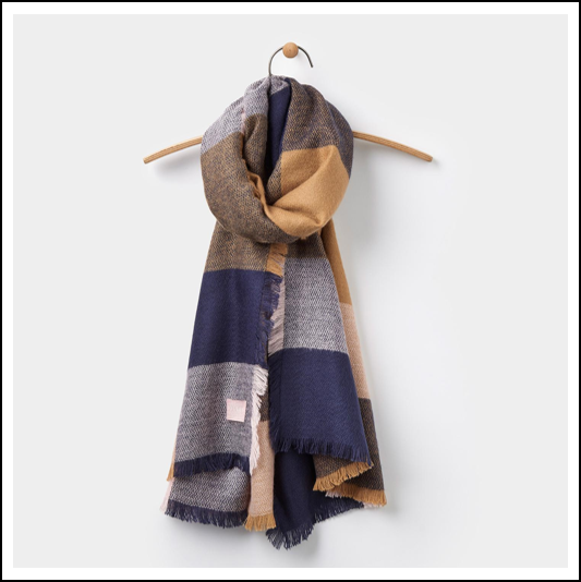 Joules Berkley Oversized Warm Camel Check Scarf 1