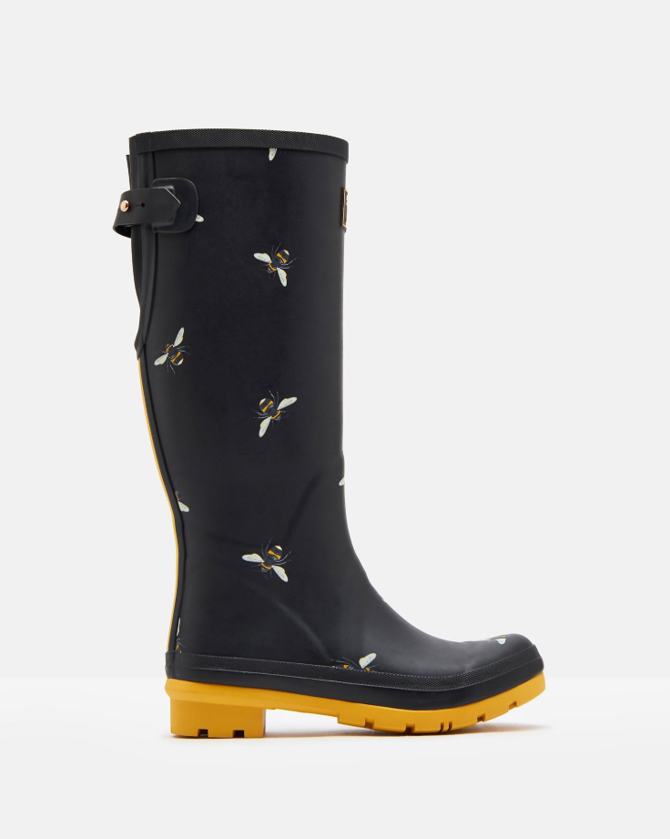 Joules Black Botanical Bees Tall Wellington Boots 1